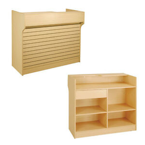 4 Maple Slatwall Front Knockdown Ledge Top Counter Pos Counter 21 d X 42 h