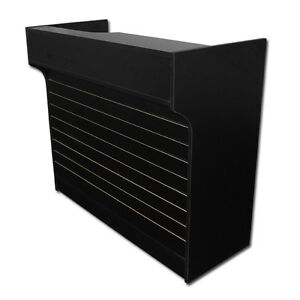 4 Black Slatwall Front Knockdown Ledge Top Counter Pos Counter 21 d X 42 h