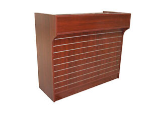 4 Cherry Slatwall Front Knockdown Ledge Top Counter Pos Counter 21 d X 42 h