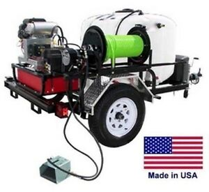 Pressure Washer Jetter Trailer Mounted 200 Gallon 8 Gpm 3500 Psi 22 Hp