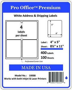 400 Shipping Labels 4x5 round Corner 4 Per Sheet blank Labels self Adhesive