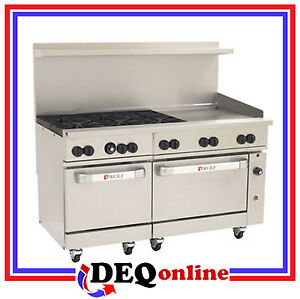 Wolf C60ss 6b24g Challenger Xl Gas Restaurant Range 6 Burners 24 Griddle Ng lp