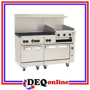 Wolf C60ss 6b24gb Challenger Xl Gas Range 6 Burners Griddle broiler Ng Or Lp