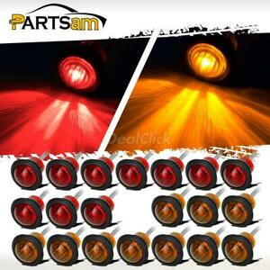 20 X New 3 4 Red Amber Led Clearance Marker Bullet Truck Trailer Turn Signal