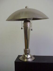 Vintage Lamp Art Deco Table Mushroom Lamp Chrome Made In Usa