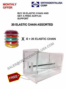 Lot Of 20 Elastic Power Chain Dental Orthodontic Free Acrylic Support