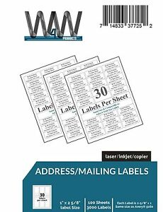 W4w 30 up Name And Address Mailing Labels Perforated