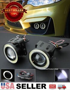 3 White Drl Cob Led Halo Ring Projector Fog Light Lamp W Wire For Dodge