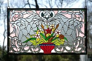 34 75 L X 20 75 H Handcrafted Beveled Stained Glass Window Panel Flower