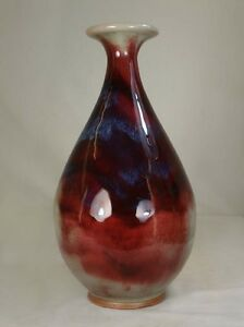 A Chinese Beautiful Jun Type Porcelain Yu Hu Chun Blood Red Vase 13 5 In High