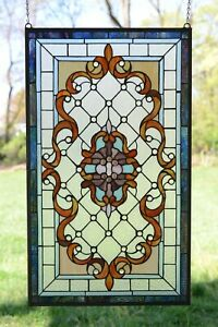 20 5 W X 34 75 H Handcrafted Jeweled Stained Glass Window Panel