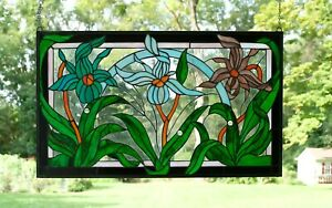 34 5 L X 20 5 H Handcrafted Jeweled Stained Glass Window Panel Iris Flowers