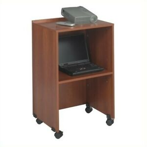 Safco Lectern Base media Cart In Cherry