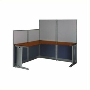 Office In An Hour 65w X 65d L Shaped Cubicle Workstation In Cherry