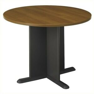 Bush Business 42 Round Conference Table In Oak And Gray