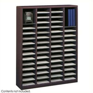 Safco E z Stor Mahogany Wood Mail Organizer 60 Compartments