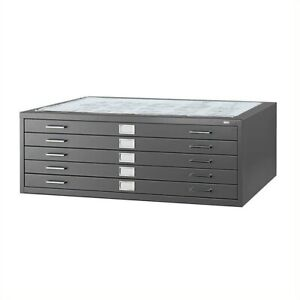 Safco 5 Drawer Metal Flat Files Cabinet For 36 X 48 Documents In Black