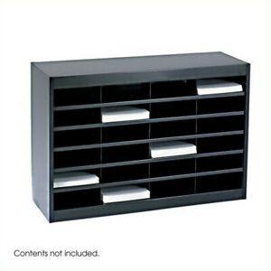 Safco E z Stor Black Mail Organizer 24 Letter Size Compartments