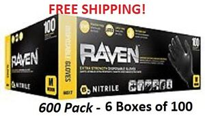 Sas Raven Case Of 6 Boxes Of Black Nitrile Gloves 600 pack All Sizes Available