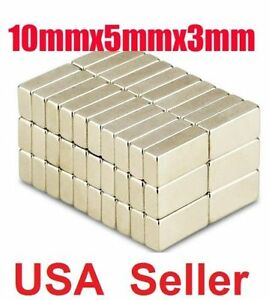100 Super Strong Rare Earth Neodymium Block Magnets 10x5x3mm Super Strong N50