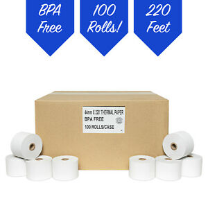 1 3 4 44mm X 220 Thermal Paper 100 Rolls free Shipping