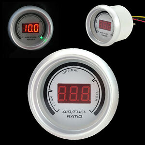 Car 2 52mm Red Digital Color 20 Led Air Fuel Ratio Gauge Meter White