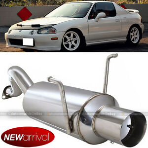 Fit 93 97 Del Sol Stainless Steel Bolt On Axle Back Exhaust Muffler Chrome Tip