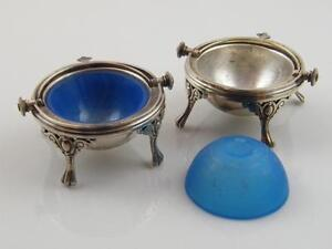 Pr Antique Silver Plate Rollover Butter Dishes Opaline Glass Liners