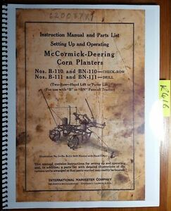 Ih International Mccormick Deering B 110 Bn 110 B 111 Bn 111 Corn Planter Manual