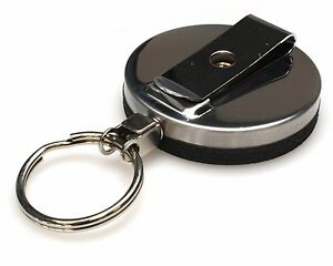 Chrome Black Badge Reel Keyring For Keys Badges And Id Card Holders