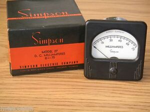 Vintage Simpson Model 27 Panel Meter 0 75 Milliamperes Dc Nos Nib 3 X 3 Dia