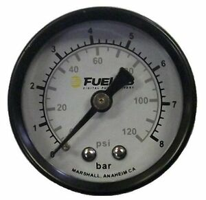 Fuelab 71511 Black white 1 5 0 120 Psi Efi Dual Bar psi Scale Fuel Pressure Gau