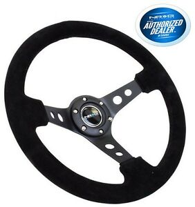 Nrg Deep Dish Steering Wheel 350mm Black Suede Black Center Rst 006s