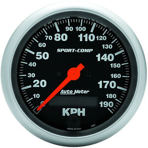 Autometer Speedometer Sport comp 0 190 Kph 3 3 8 In Analog Electrical Each