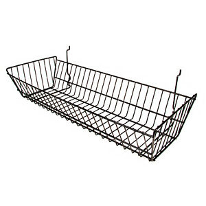 6 Wire Baskets 24 l X 10 d X 5 h Black For Slatwall Grid Or Pegboard