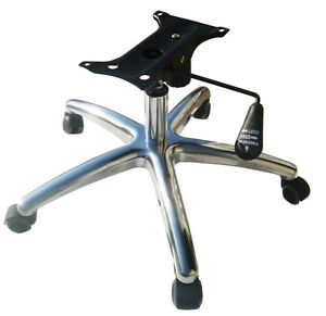 Chair Seat Plate Dia 28 Brushed Aluminum Base Gas Lift Cylinder 5 Casters Set