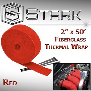 2 X 50 In Ft Fiberglass Manifold Header Exhaust Heat Tape Wrap Ties Red M