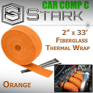 2 X 33 In Ft Fiberglass Manifold Header Exhaust Heat Tape Wrap Ties Orange L