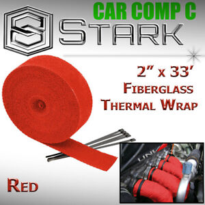 2 X 33 In Ft Fiberglass Manifold Header Exhaust Heat Tape Wrap Ties Red I