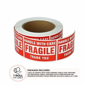 1 Roll 3x5 Fragile Stickers Handle With Care Thank You Shipping Labels 500 roll