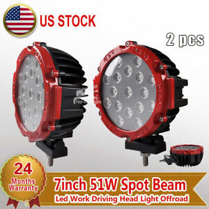 2x 7 Inch 51w Round Led Work Light Spot Driving Fog Lamp Offroad Truck 4x4 Boat