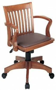 New Directors Stylish Wood Bankers Desk Chair Brown Vinyl Padded Seat Wheels