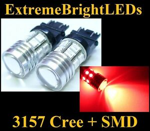 Two Brilliant Red 3156 3157 Cree Q5 12 smd Turn Signal Brake Stop Lights