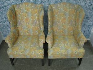 Pair 1960 S Kittinger Furntirue Old Dominion Wing Back Chairs Original