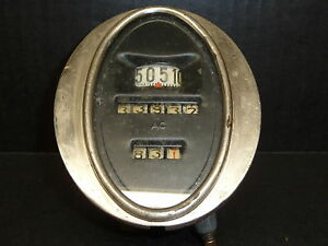 Vintage Gm Ac Spark Plug Co Black Face Oval Speedometer