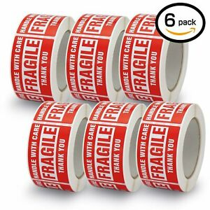 6 Rolls 3x5 Fragile Handle With Care Stickers Shipping 3000 Labels 500 roll Red