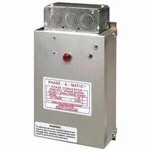 Phase a matic Static Phase Converter pc 600 3 5hp 15 2 Max Amps
