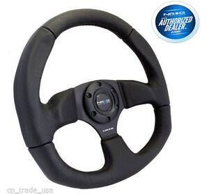 Nrg Race Style Steering Wheel Black Leather With Black Stitch 320mm Rst 009r