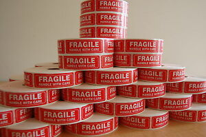 250 Fragile 1x3 Sticker Handle With Care Fragile Label sticker