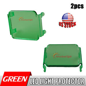 2x Snap On Green Lens Cover For 3 Led Work Light Driving 16w 18w Cube Square